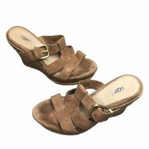 UGG Tan Hedy Espadrille Wedge Heel Sandal Leather